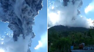 Incredible footage of volcano erupting in Indonesia