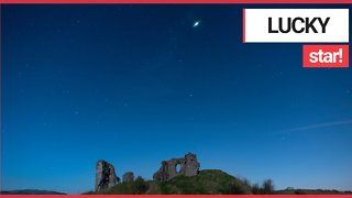 'Once in a lifetime' video captures moment a meteor explodes in the night sky above a castle