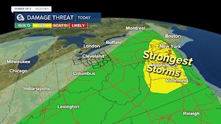 Scattered thunderstorms with damage possible