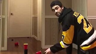 Hockey player shows amazing shooting accuracy