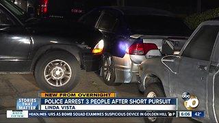 3 arrested after pursuit ends in Linda Vista