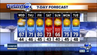 Chilly, with scattered showers tonight in Denver