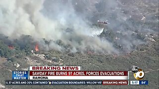 Sawday Fire Burns 97 Acres, Forces Evacuations