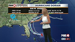 Hurricane Dorian continues west