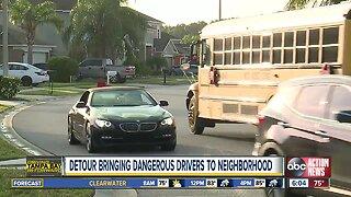 Construction detour causing dangerous drivers to speed through Wesley Chapel neighborhood