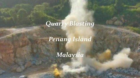 Quarry blasting at Penang island in Malaysia