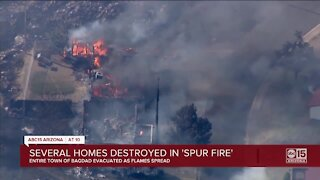 Spur Fire: Wildfire destroys 25+ structures, forces evacuation of entire town in Bagdad, near Prescott