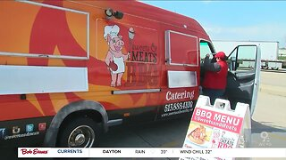 BBQ food truck offers truckers free meals at rest stop