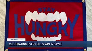 Victory banners celebrate Bills wins