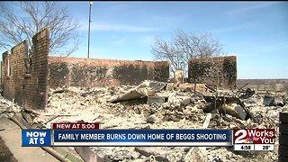 Investigators: Family member burns down Beggs home where murders took place