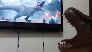 "Dinosaur reinvigorated after watching ""Jurassic World"""