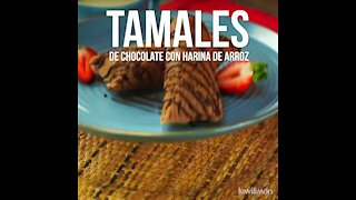 Chocolate Tamales with Rice Flour