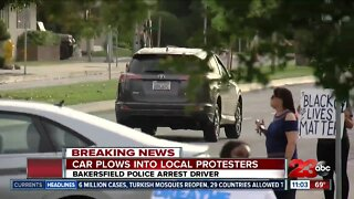 Report on driver speeding through protestors in downtown Bakersfield