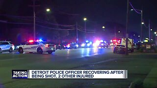 Detroit police officer recovering after being shot, 2 others injured