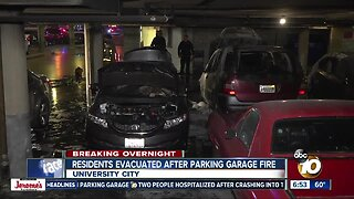 Fire burns vehicles in parking garage at University City apartment complex