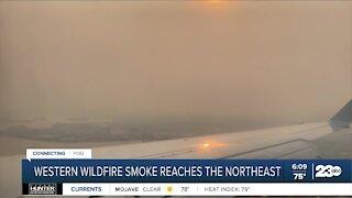Western wildfire smoke reaches the northeast