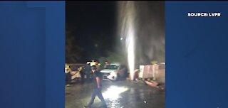 Vehicle hits water valve causing leak after 2-vehicle crash in Las Vegas