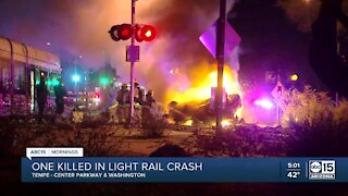 Driver killed in crash with light rail train in Tempe