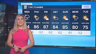 Partly sunny and humid with scattered showers and storms