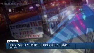 Flags stolen from Trebing Tile & Carpet