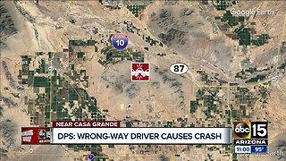 Wrong-way driver causes crash near Casa Grande