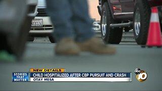 Child hospitalized after CBP pursuit and crash