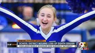 Highlands Middle School student suddenly died
