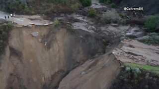 Highway washed out in Big Sur, California