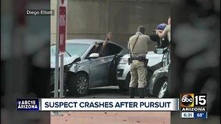 Suspect crashes after pursuit