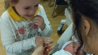 6-year-old can't contain tears of joy after meeting baby sister