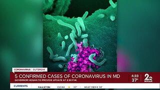 5 confirmed cases of Coronavirus in Maryland