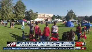 local church holds worship outside for the first time