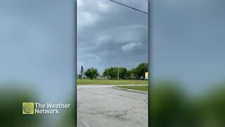 Ominous clouds sink as storm approaches