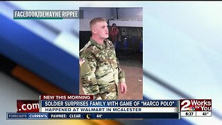 """Soldier surprises family with game of """"Marco Polo"""""""