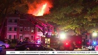 Crews battle building fire