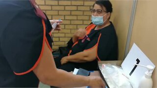 Private Healthcare workers queue for vaccine