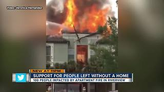 Dozens of people without a home after lightning strike causes apartment fire in Riverview