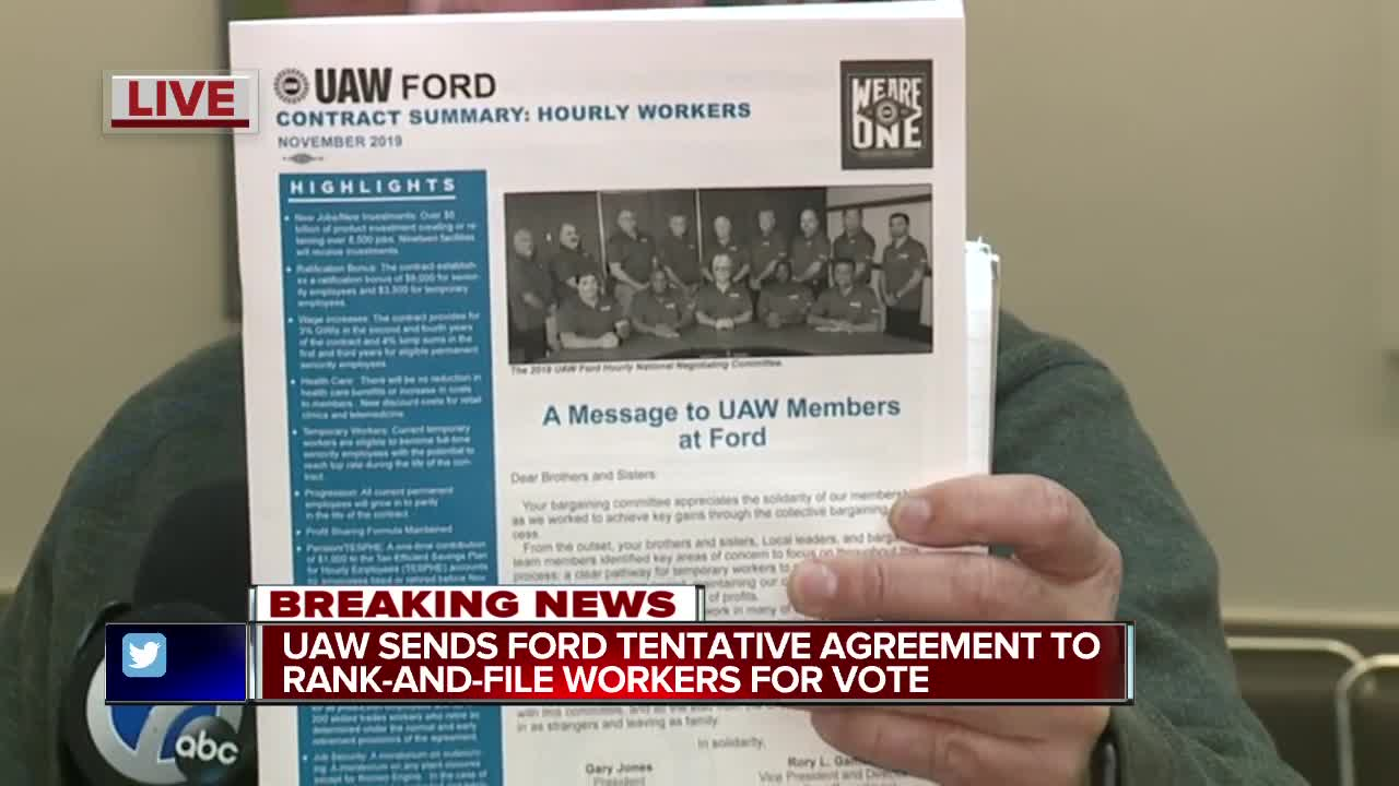 UAW sends Ford tentative agreement to rank-and-file workers for vote