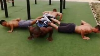 Collective push-ups test youngsters' strength