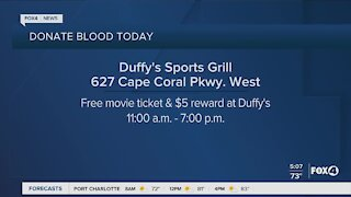 Blood Donation tour starts at Duffy's in Cape Coral