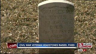 Civil War veteran headstones raised, fixed