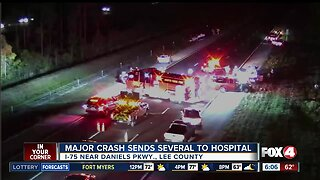 Crash on I-75 in Fort Myers injures 10 people