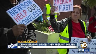 Homeless advocates protest new migrant shelter