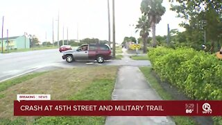Woman steals vehicle crashes into another vehicle in West Palm Beach