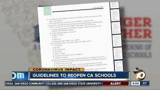 Guidelines released to reopen CA schools