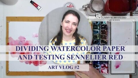 VLOG #2: How to divide watercolor paper, testing Sennelier Red and painting geraniums