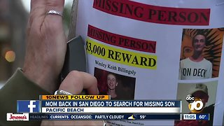 Mom returns to San Diego to search for missing son