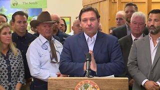 Florida Gov. Ron DeSantis speaks in Hobe Sound