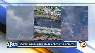 Several brush fires spark in San Diego County