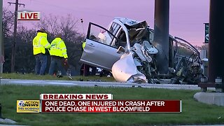 1 dead, 1 injured in crash after police chase ends in West Bloomfield